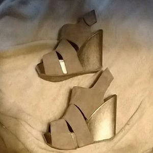 Kenneth Cole Suede Wedges w/ Adjustable Strap
